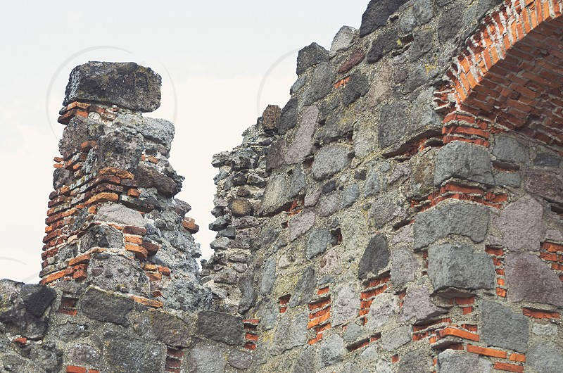 Castle Ruin Made of Stone and Brick Closeup photo