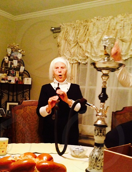 Grandmother trying smoking hookah grams gramma smoke haha funny silly ageless! photo