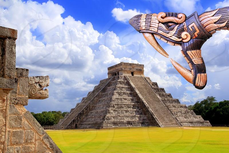 Ancient Kukulcan temple chichen itza snake handcraft Mayan Mexico Yucatan photo
