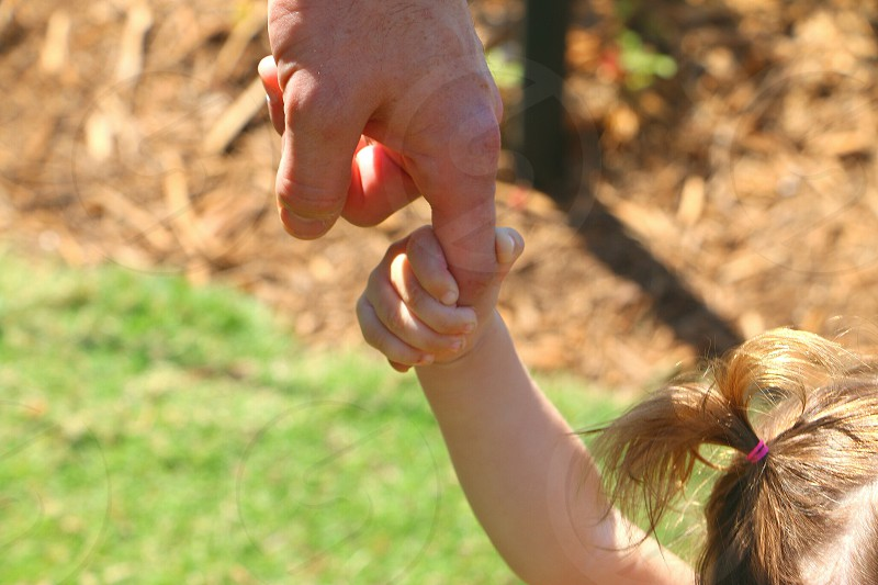 Little girl holds on to her daddy's finger while walking in the park. photo
