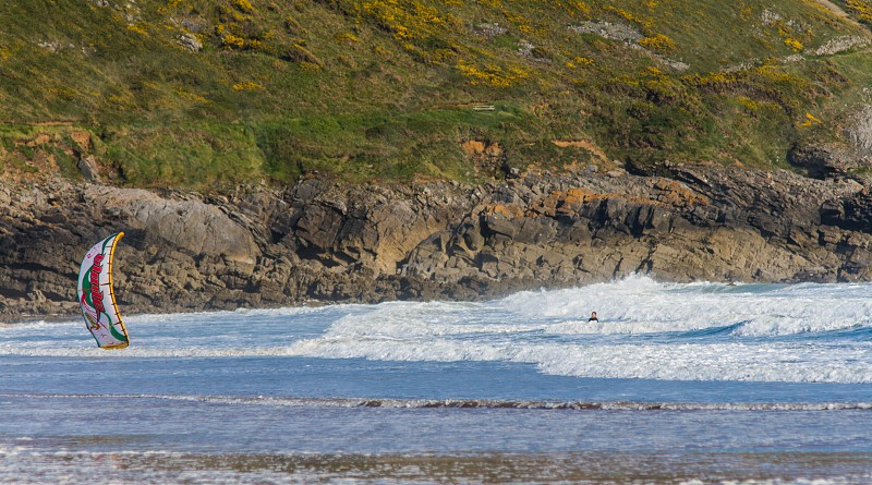 Parasurfing Caswell Bay Wales photo