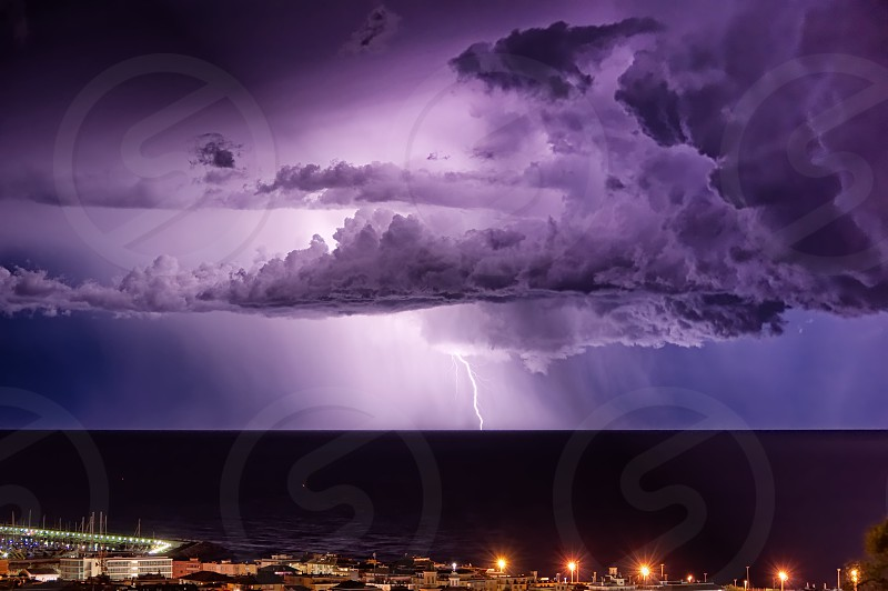 Lightning on the Ligurian sea - Tigullio gulf - Chiavari - Italy photo