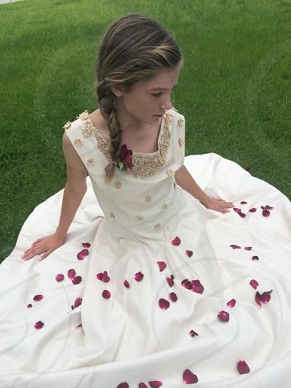 Little girl. Vintage dress.  photo