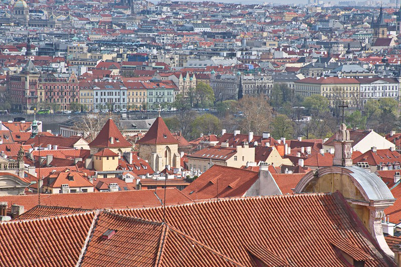 Cityscape of Prague from Old Town photo