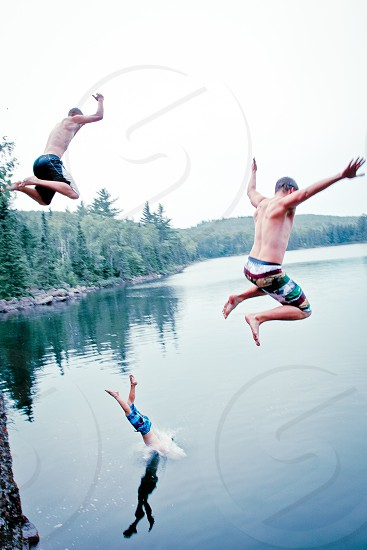Boundary Waters cliff jumping photo