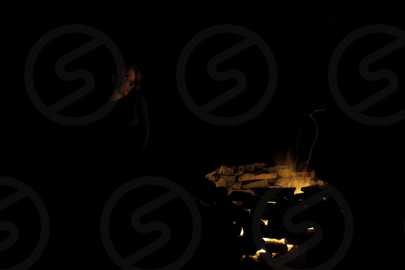 Fire night camping flame  photo