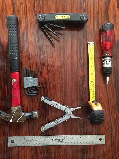 Tools on wood.  photo
