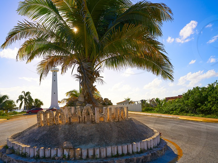Mahahual word sign and lighthouse in Costa Maya of Mexico photo
