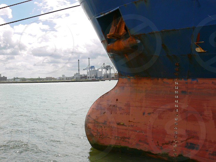Bow of a ship in the harbour of Rotterdam photo