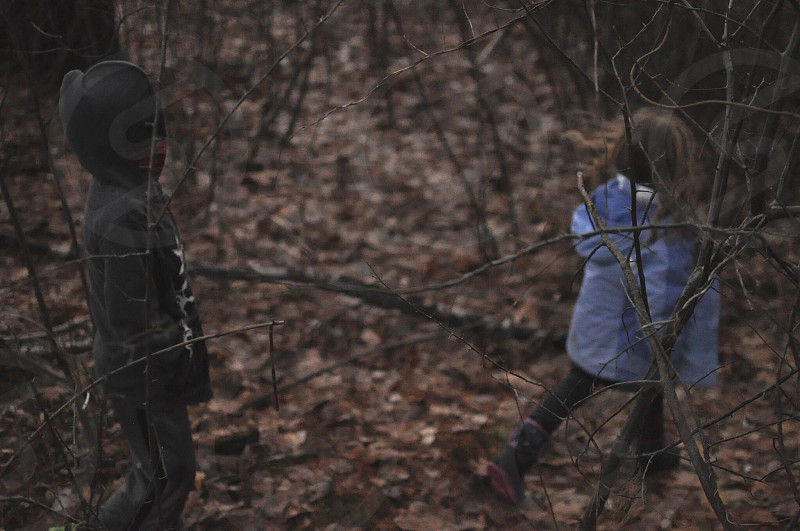 two children wearing black and blue jackets walking inside forest surrounded by withered leaves photo