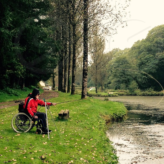 Fly fishing from wheelchair  photo