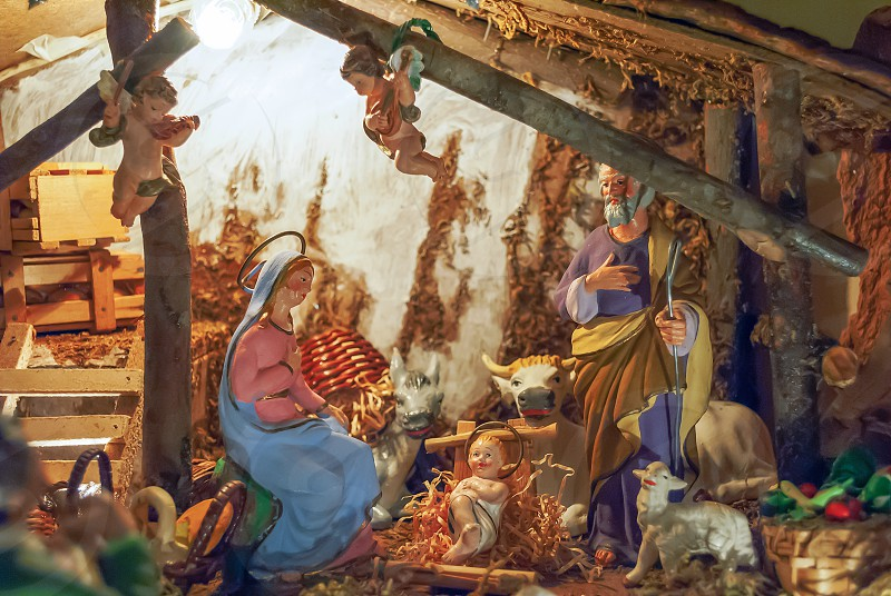 nativity scene with hand-colored figures  photo