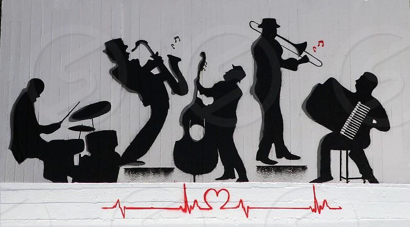 Black and white music mural jazz band heart beat shot in Crete photo