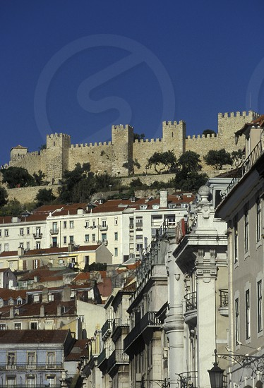 the castelo sao Gorge in the city centre of Baixa in the city centre of Lisbon in Portugal in Europe. photo