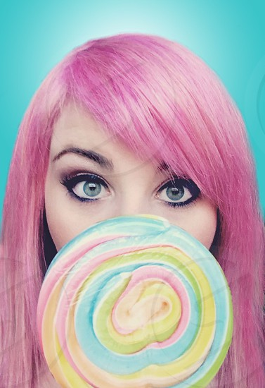 Pop pink lollipop lolli rainbow pastel pink hair  photo