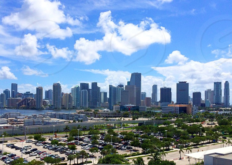 Miami Florida skyline from the pier.  photo
