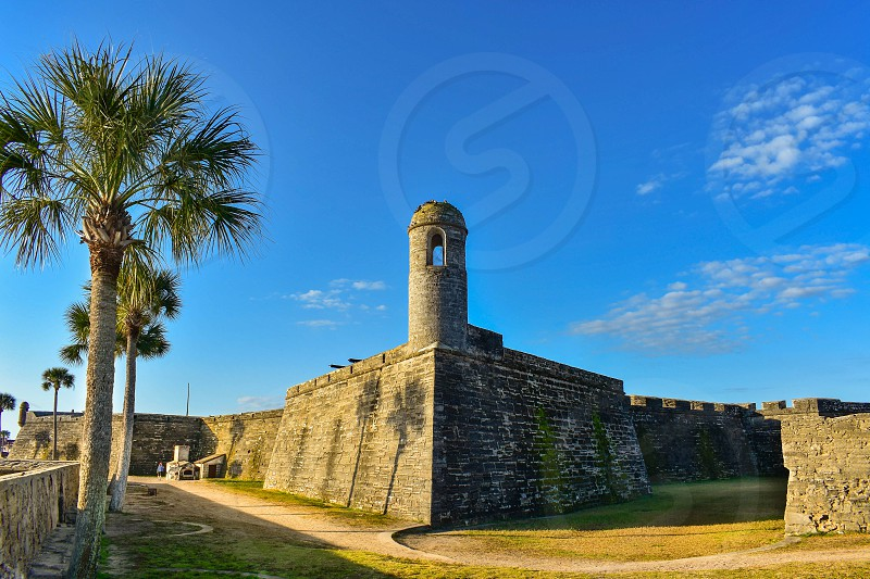 St. Augustine Florida. January 26  2019. Panoramic view of Castillo de San Marcos Fort at Old Town in Florida's Historic Coast photo