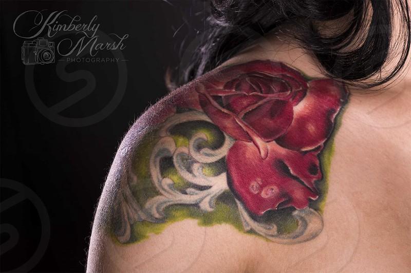 Tattoo rose shoulder rim light studio female photo