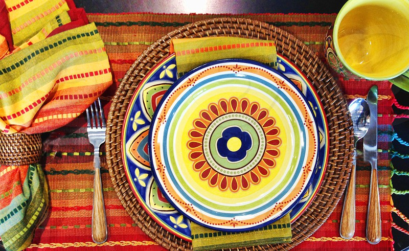 Festive plates and table setting for Cinco de Mayo photo
