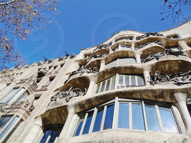 Casa Milà  Barcelona  Spain  architecture balconies facade  photo