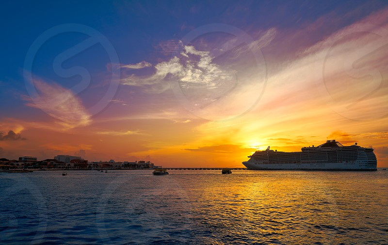 Cozumel island sunset cruise in Riviera Maya of Mayan Mexico photo