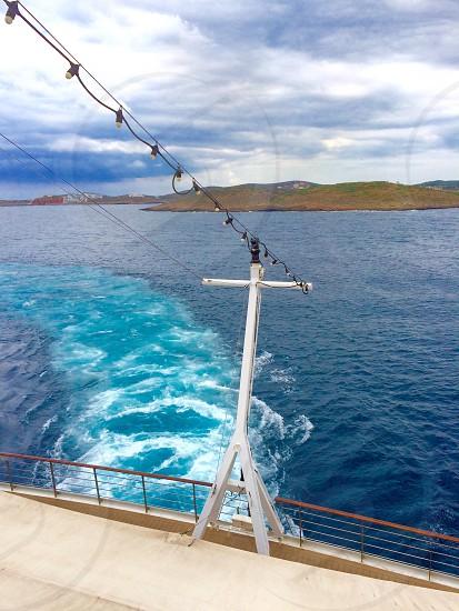 Boat ocean sea mountains  photo