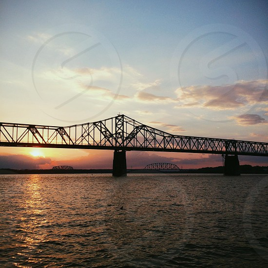 A beautiful night on the Ohio River from the shore of Louisville Kentucky. photo