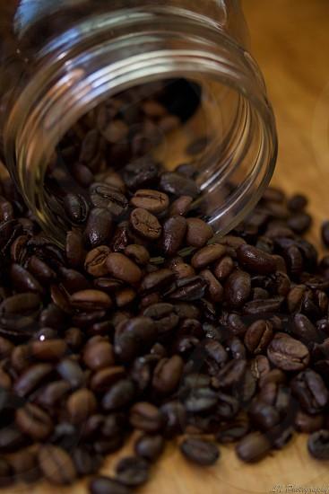 Macro shot of coffee beans. photo
