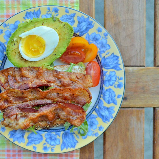 Breakfast bacon eggs avocado photo