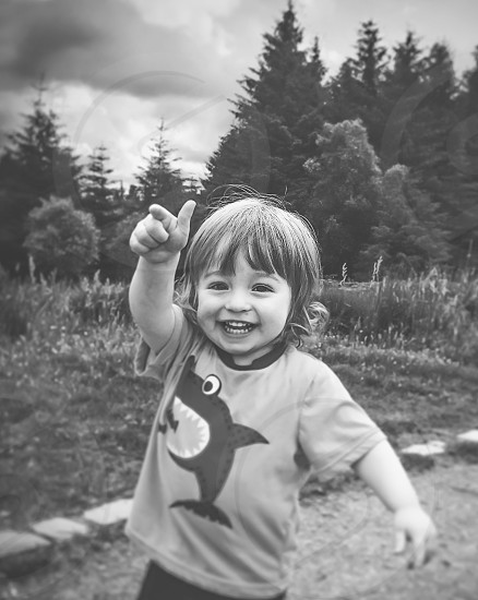 My lil lad...out on a walk.. Took multiple pic while he was walking pointing the way.. And loving it photo