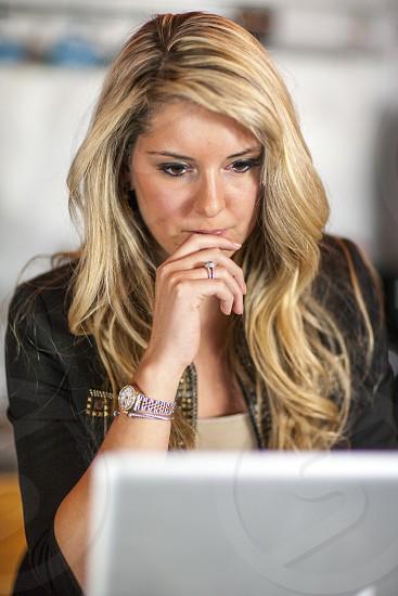 Female model woman computer laptop focus photo