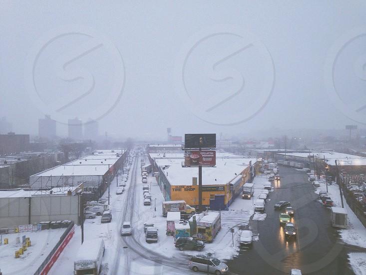 snowy city view photo