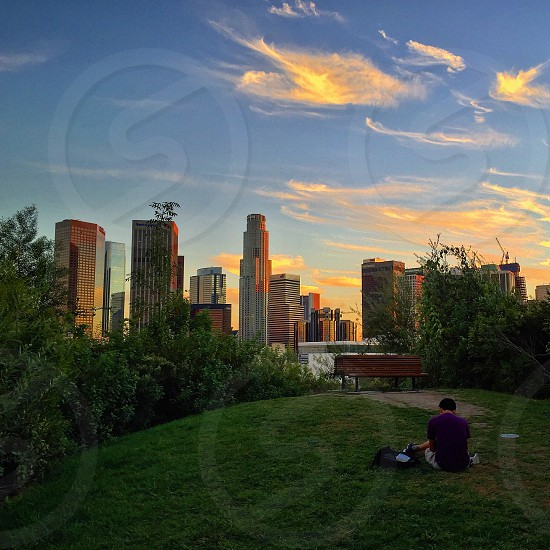 Downtown LA skyline at Sunset photo