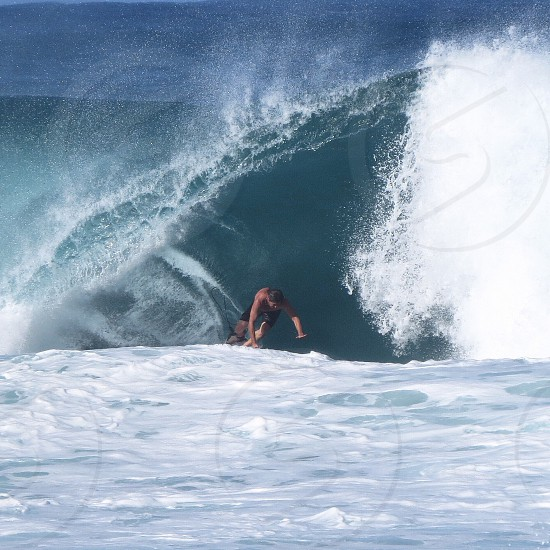 Surfing exit door Hawaii pipeline waves close outs surf surfer photo
