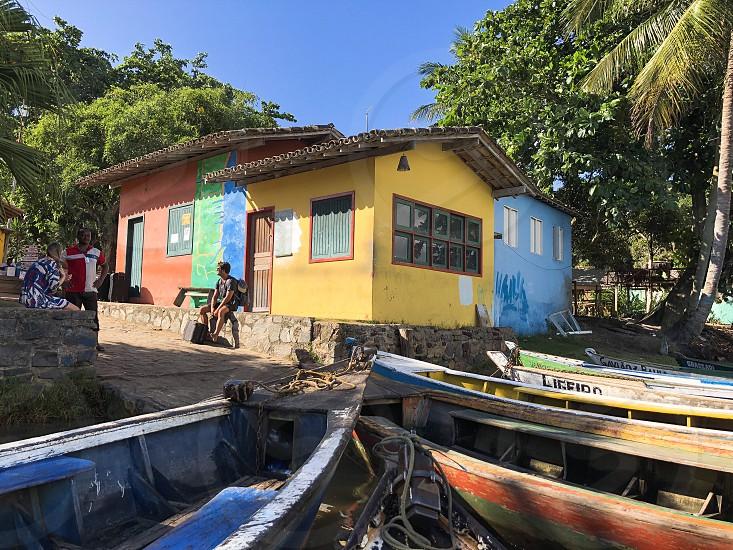 Canoe boat river transport Bahia caraiva colors photo