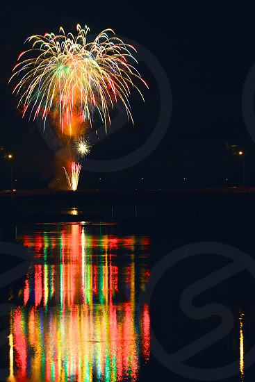 'Fireworks over city' (5)  Fireworks Fireworks over city Fireworks on the river Reflection New Year City Sparkling Shinning Colorful Night view Vertically long Longitudinally long photo