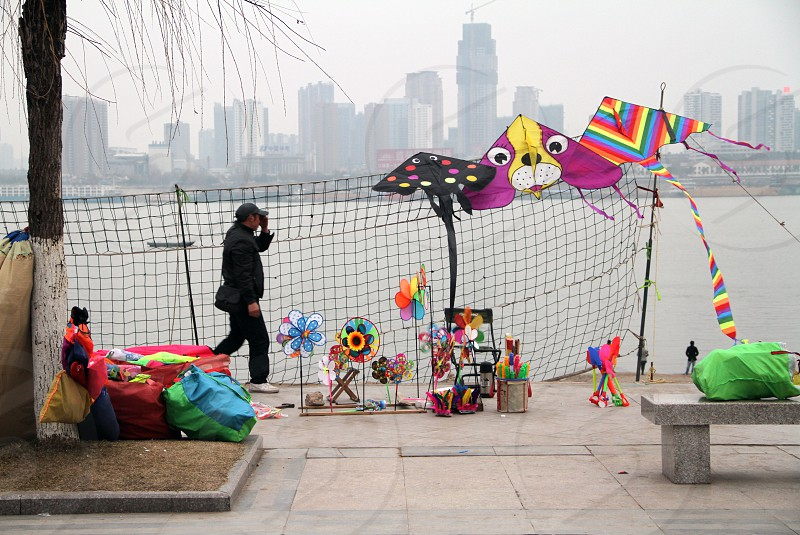 Wuhan riverfront colors flyes outdoors photo