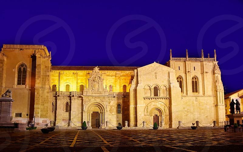 Leon San Isidoro church sunset by the way of saint James at Castilla Spain photo