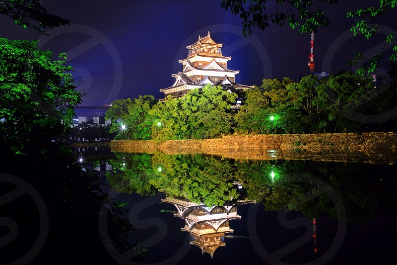 white and brown oriental palace beside green trees photo
