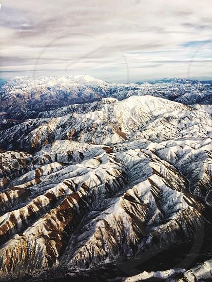 Mountains sky nature beauty snow peaks Himalayas Afghanistan aerial view mountain range photo