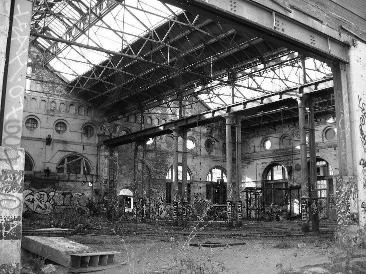 A beautiful example of light/dark abandoned bus depot building.  photo