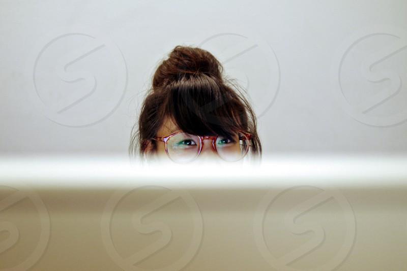 Portrait. People. Receptionist. Office. Business.  photo