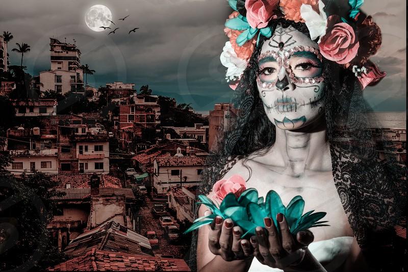 Digital composition. Mexico - Dia de Muertos. La Calavera Catrina - Traditional Mexican female skeleton figure symbolizing death. photo