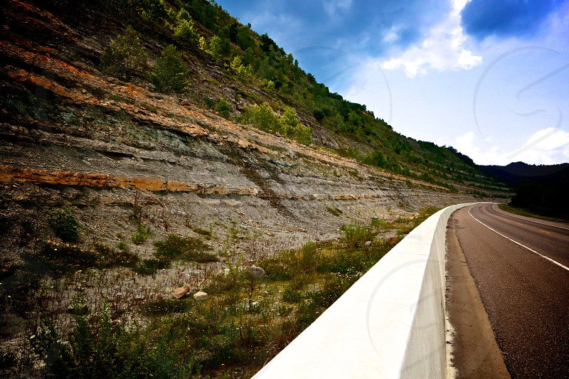 Road cliffs colorful. photo