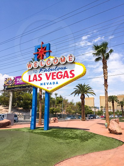 Outdoor day colour vertical portrait bright vivid vibrant colourful Sign Signage Iconic 1950s retro Las Vegas Nevada NV downtown tourism tourist travel wanderlust desert palm trees road trip US USA United States America North America photo