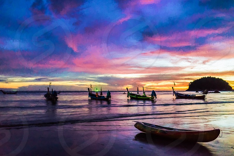 Boats on Beautiful colorful sunset on Phuket. Thailand. photo