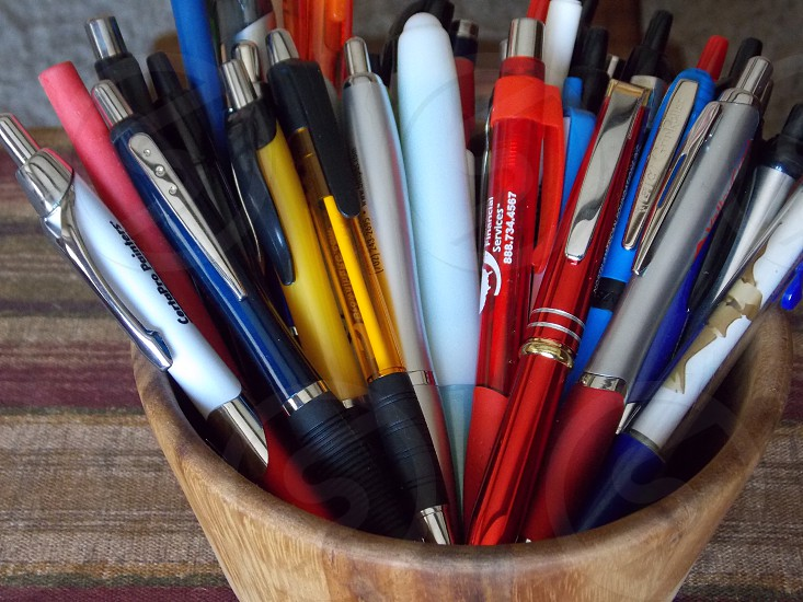 Cup of pens for business photo