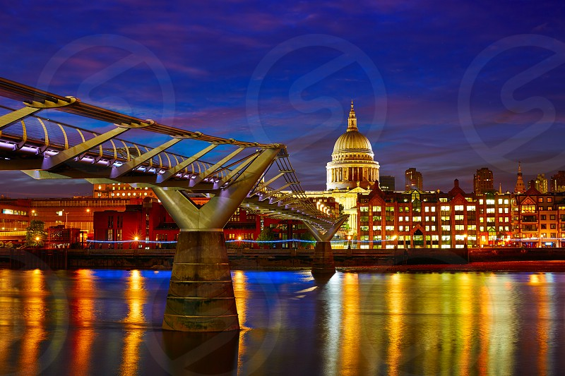 London St Paul Pauls cathedral from Millennium bridge on Thames UK photo