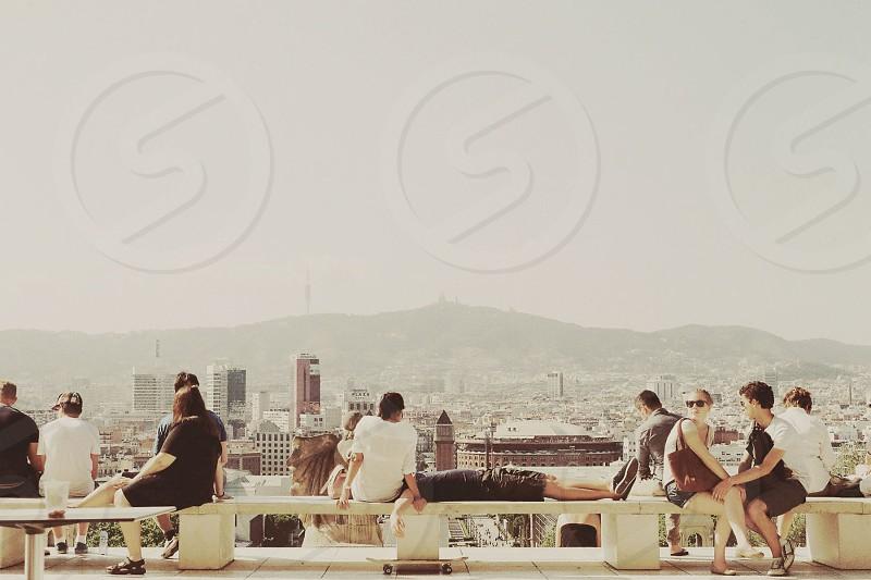barcelona city spain people urban montjuic travel photo