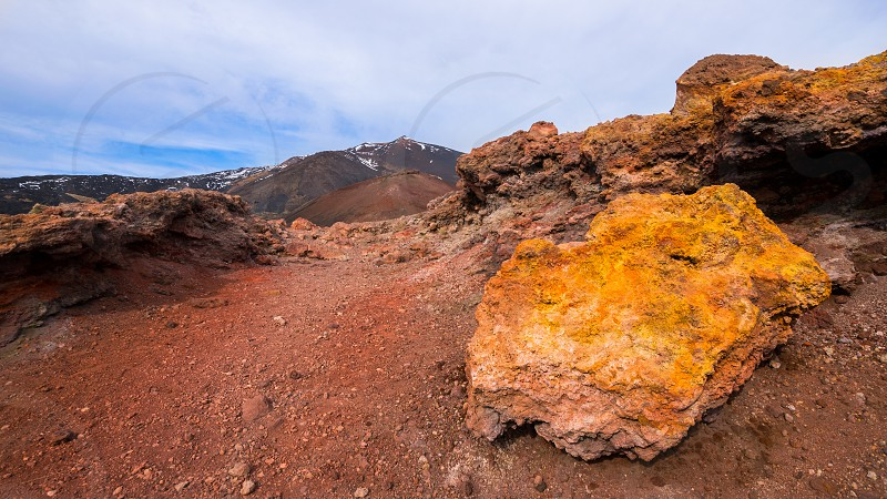 "Rocks Mount Etna the highest volcano in Europe.  The photo was taken at the Silvestri craters in ""Rifugio Sapienza"". photo"